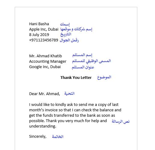 نموذج كتابة رسالة أو ايميل رسمي بالانجليزي جاهز