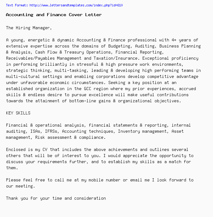 accounting and finance cover letter    job application letter