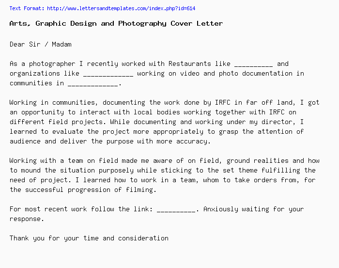 Arts, Graphic Design And Photography Cover Letter / Job Application Letter