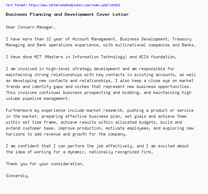 Business Planning and Development Cover Letter / Job Application Letter