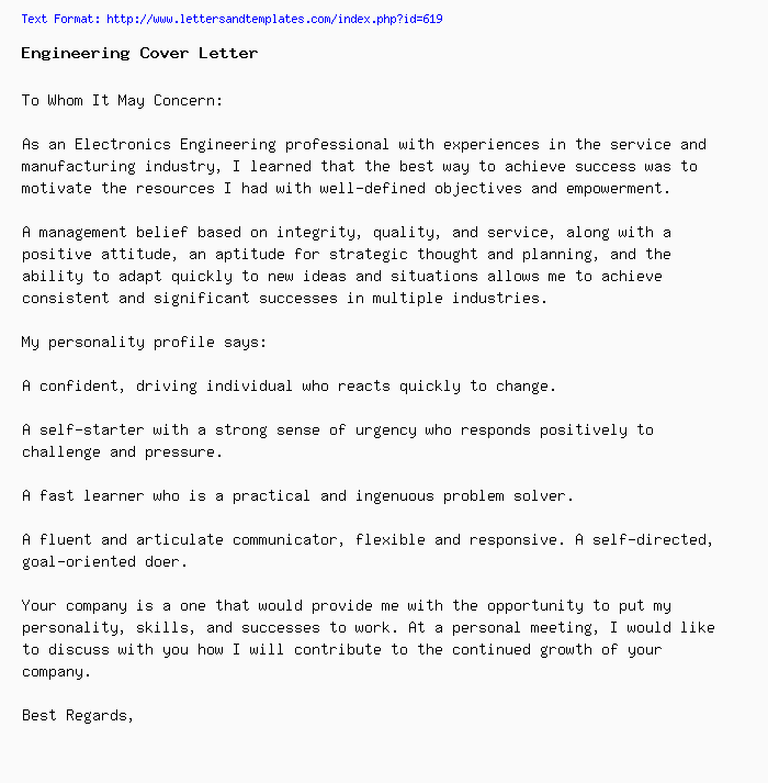 engineering cover letter    job application letter