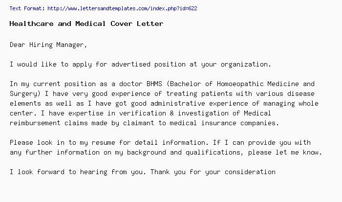 Healthcare and Medical Cover Letter / Job Application Letter