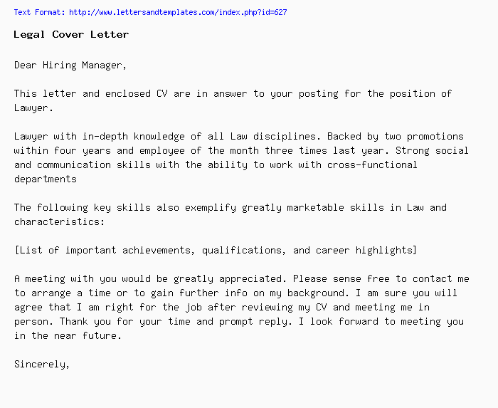 Legal Cover Letter / Job Application Letter