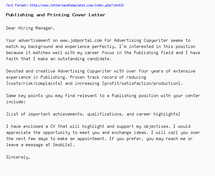 Publishing and Printing Cover Letter / Job Application Letter