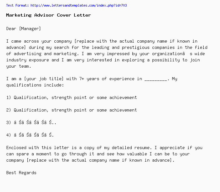 Marketing Advisor Cover Letter / Job Application Letter