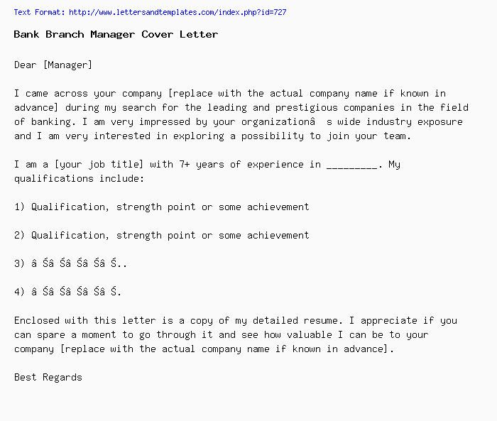 Bank Branch Manager Cover Letter / Job Application Letter