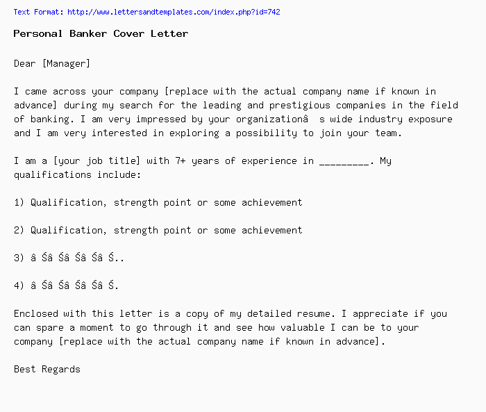 Personal Banker Cover Letter / Job Application Letter