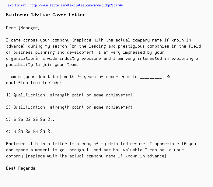 Business Advisor Cover Letter Job Application Letter