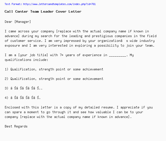 Call Center Team Leader Cover Letter Job Application Letter