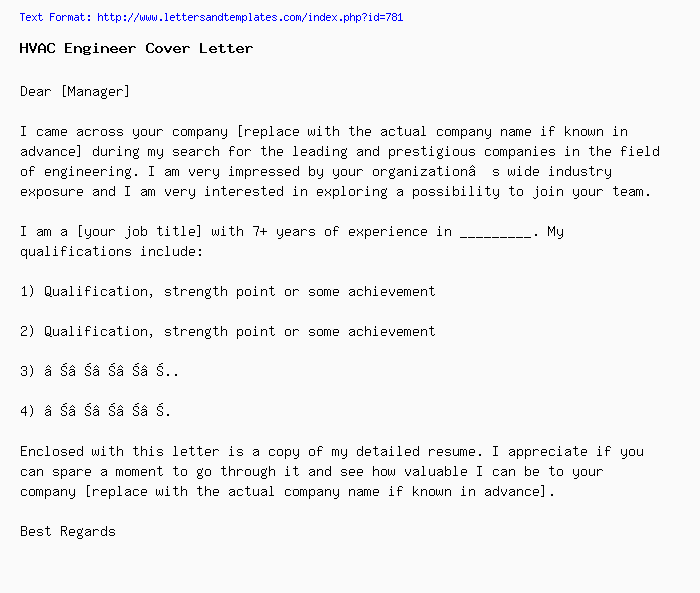 Hvac Engineer Cover Letter Job Application Letter