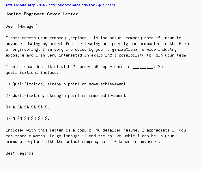 Marine Engineer Cover Letter Job Application Letter