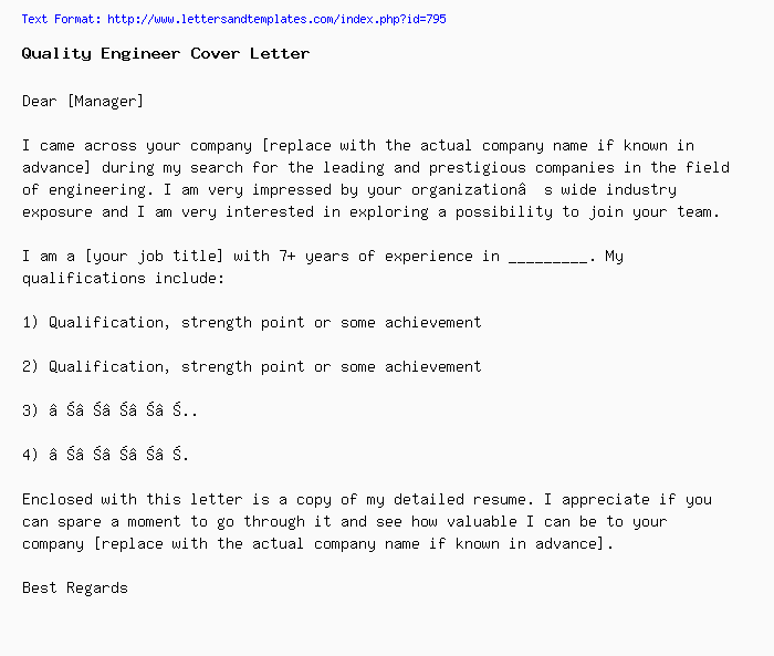 Quality Engineer Cover Letter Job Application