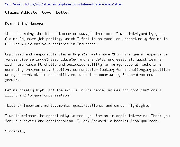 Claims Adjuster Cover Letter / Job Application Letter