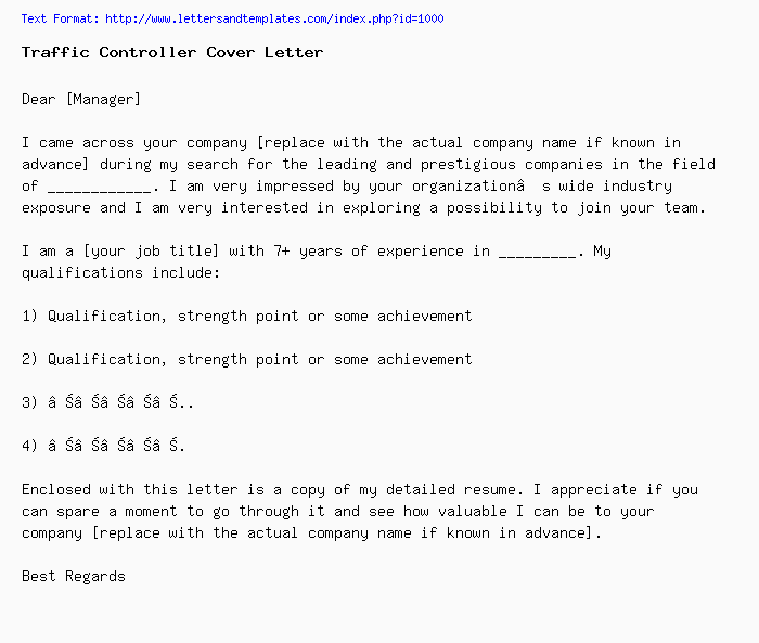 Traffic Controller Cover Letter / Job Application Letter