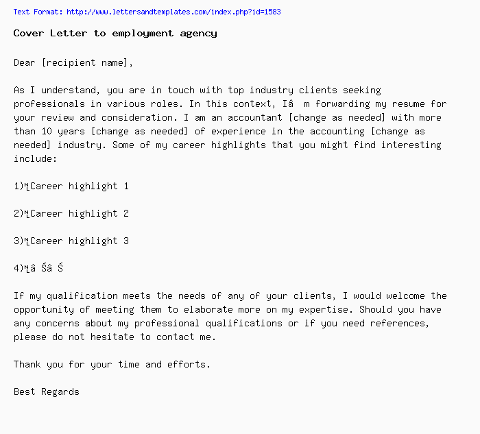 Changing Industries Cover Letter: Cover Letter To Employment Agency / Job Application Letter