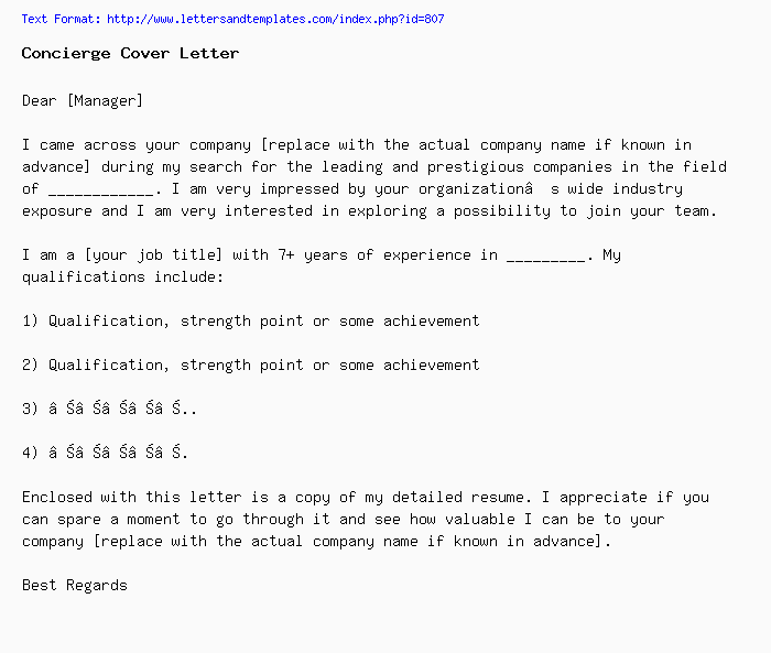 Concierge Cover Letter / Job Application Letter