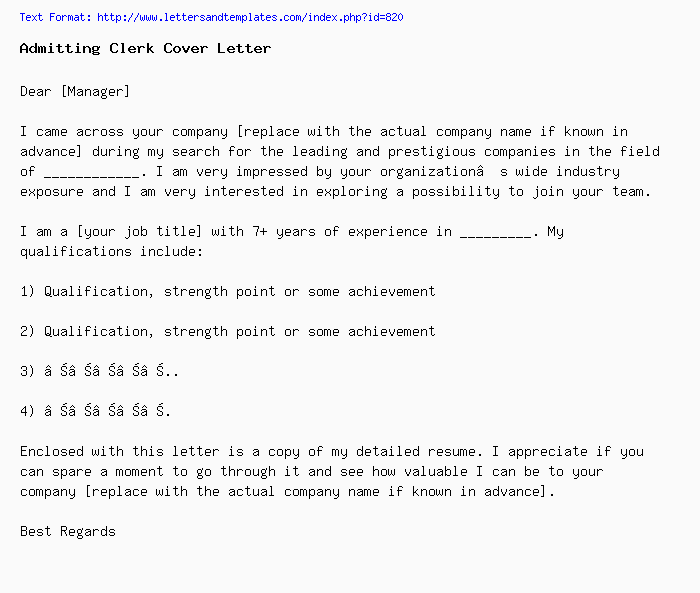 Admitting Clerk Cover Letter / Job Application Letter