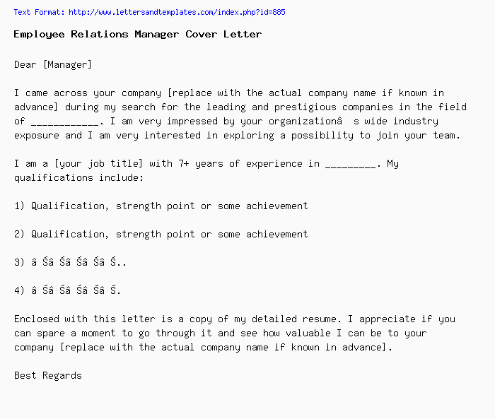 Employee Relations Manager Sample Cover Letter