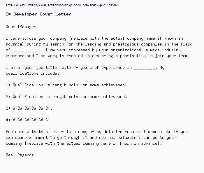 C# Developer Cover Letter / Job Application Letter