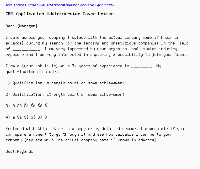 CRM Application Administrator Cover Letter / Job Application ...