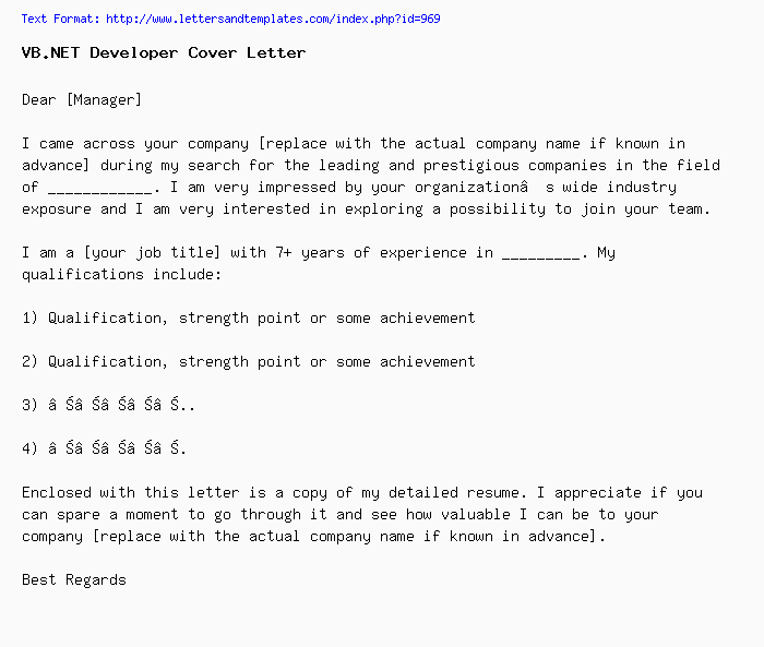 VB.NET Developer Cover Letter / Job Application Letter