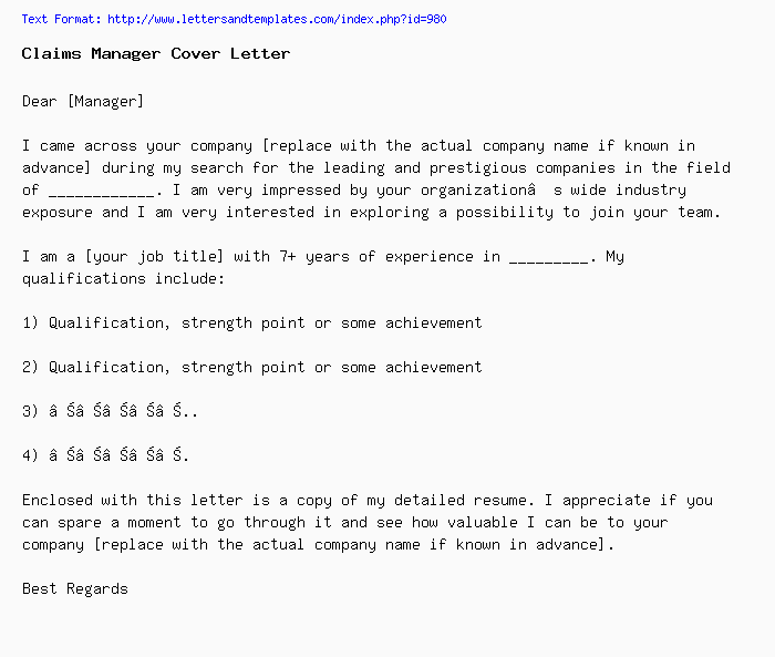 Claims Manager Cover Letter / Job Application Letter