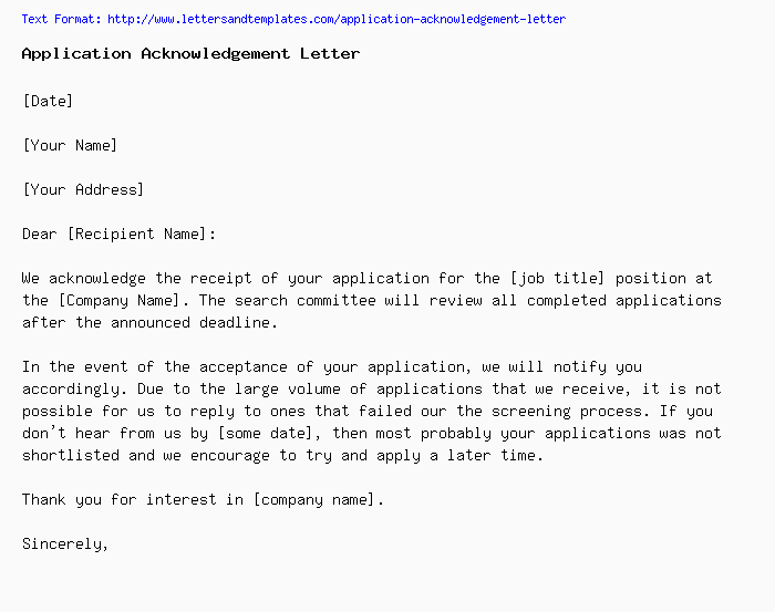 Application Acknowledgement / Confirmation Letter