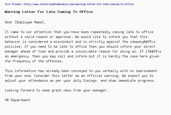 Warning letter for late coming to officeg warning letter for coming late to office thecheapjerseys Gallery