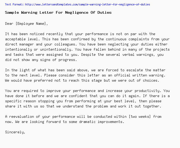 Sample warning letter for negligence of duties sample warning letter for negligence of dutiesg spiritdancerdesigns
