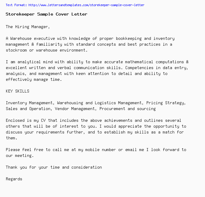 Storekeeper Sample Cover Letter / Job Application Letter