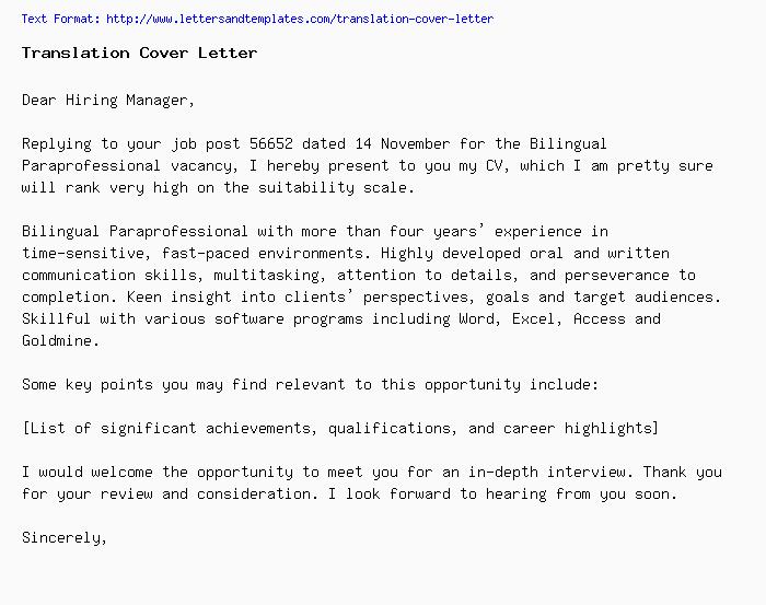 translation cover letter    job application letter
