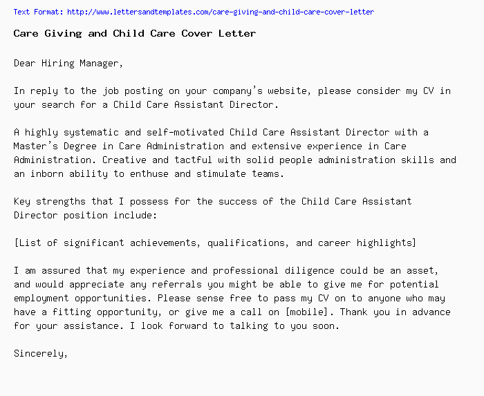 Care Giving and Child Care Cover Letter / Job Application Letter