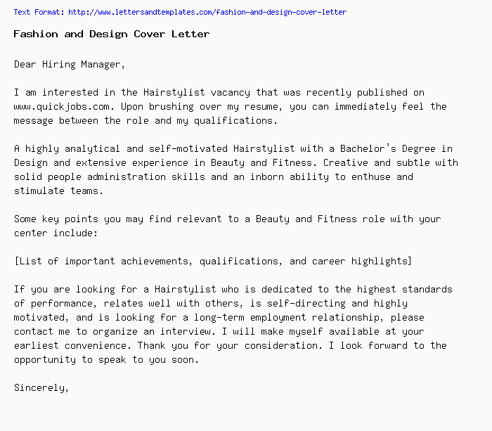 Fashion And Design Cover Letter Job Application Letter