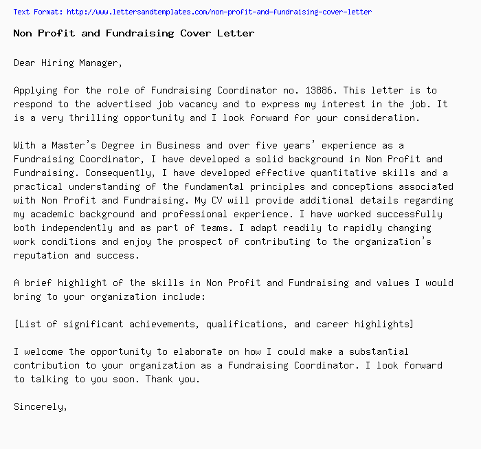 non-profit-and-fundraising-cover-letter Sample Application Letter For Work Experience on summer job, for training, for graduation,