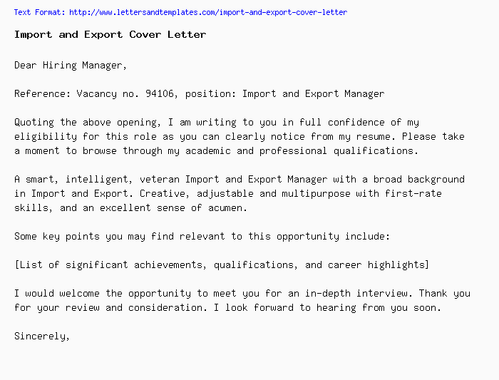 Import and Export Cover Letter / Job Application Letter