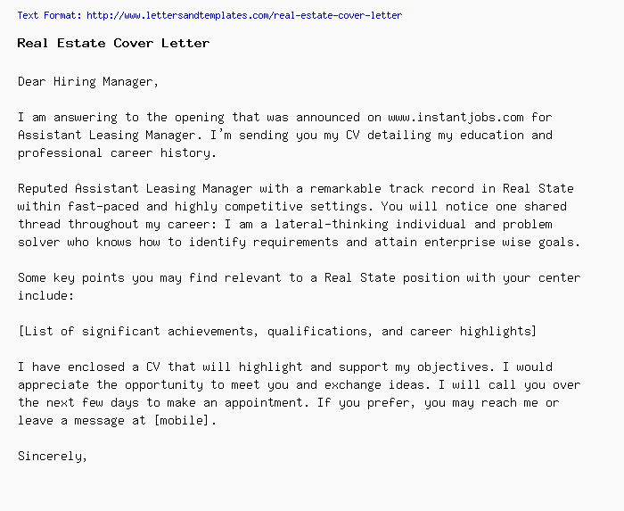 Real Estate Cover Letter / Job Application Letter