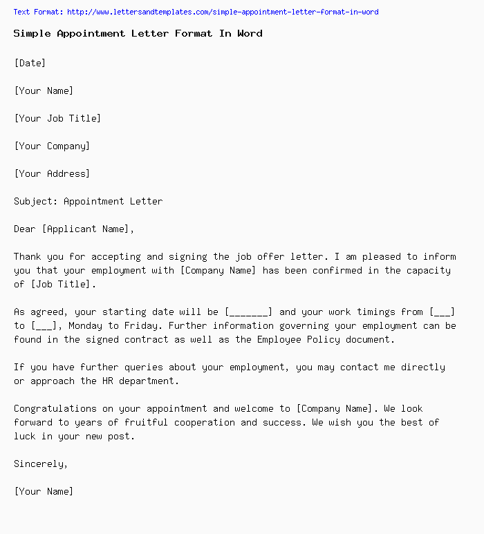 Simple appointment letter format in word simple appointment letter format altavistaventures Choice Image