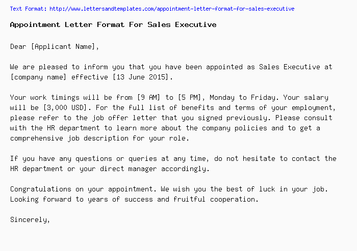 Appointment letter format for sales executiveg appointment letter for sales executive spiritdancerdesigns Choice Image