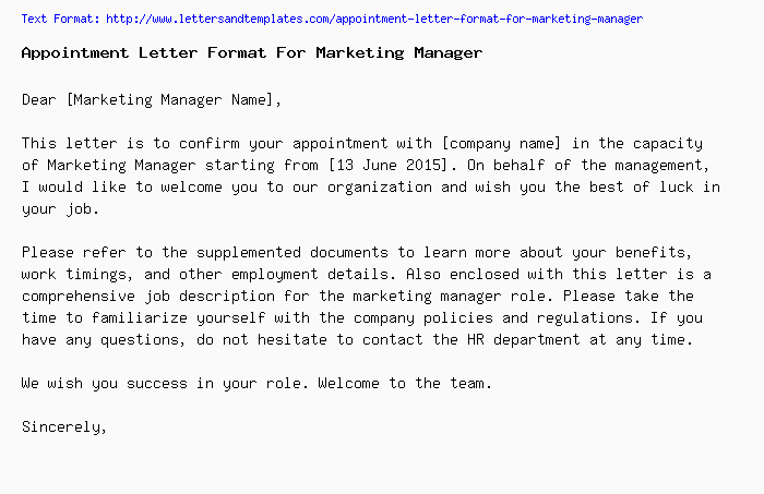 appointment letter format for marketing managerpng