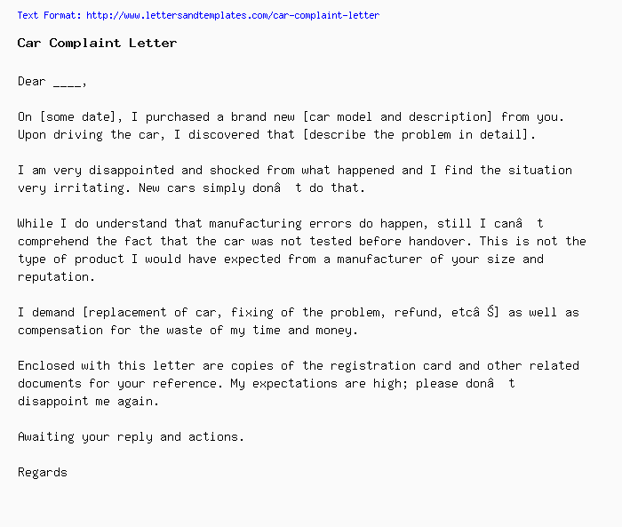 Complaint Letter For Poor Service from www.lettersandtemplates.com