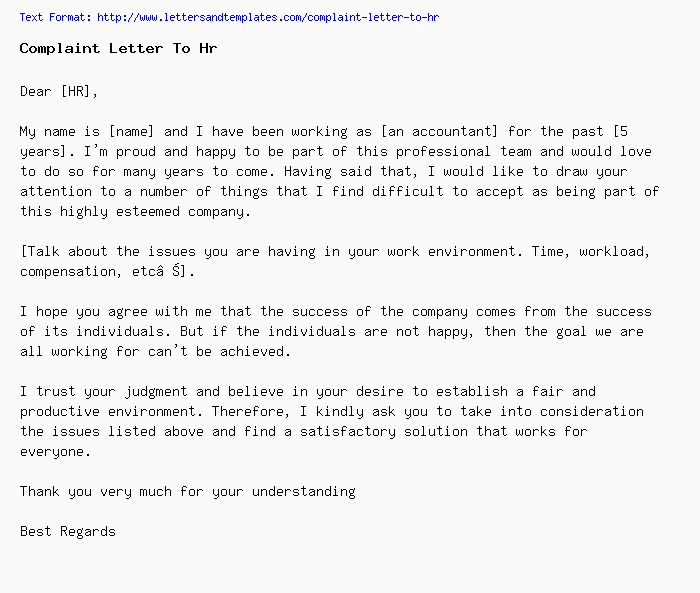 complaint letter to hr