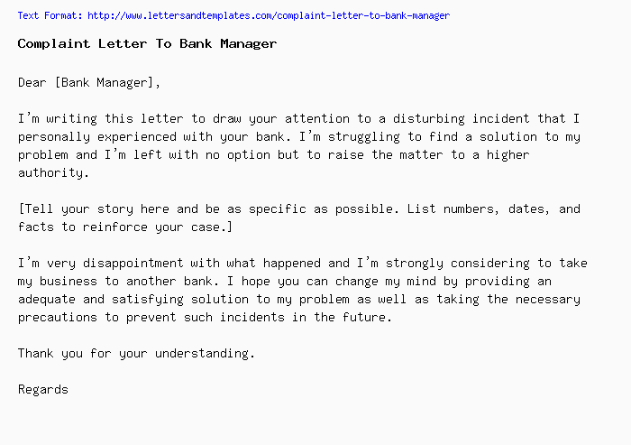 Complaint Letter To Manager from www.lettersandtemplates.com