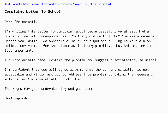 complaint letter to school