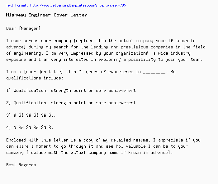Highway Engineer Cover Letter / Job Application Letter