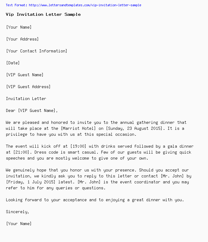 vip invitation letter sample
