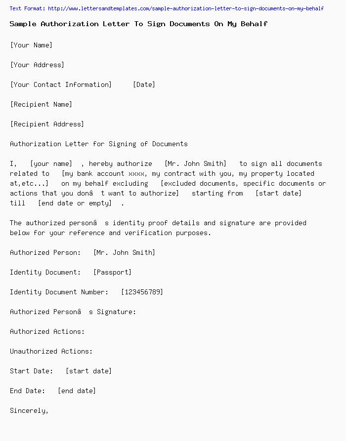 On Behalf Of Letter from www.lettersandtemplates.com