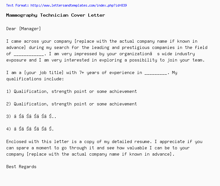 Mammography Technician Cover Letter / Job Application Letter