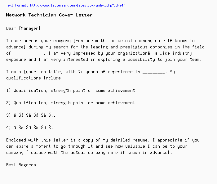 Network Technician Sample Cover Letter