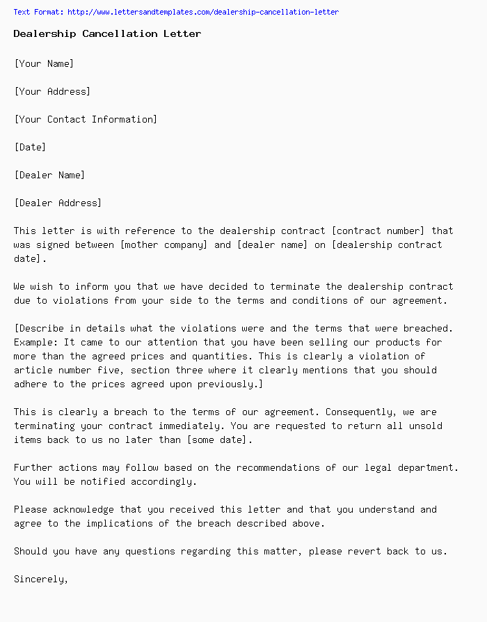 Letter Of Cancellation Of Contract from www.lettersandtemplates.com