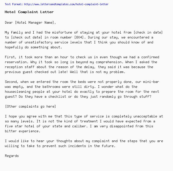 Hotel Complaint Letter